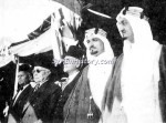Former President Hashem al-Atasi (third from left) with Fares al-Khury, the Speaker of Parliament, and Prince Faisal (later king) of Saudi Arabia on the day of Syrian independence, April 17, 1946.