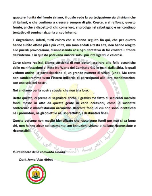AVVISO UFFICIALE DA PARTE DELLA COMUNITÀ SIRIANA IN ITALIA - P2-
