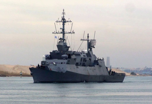 Destroyer ''Eilat'' of Israel crosses the Suez Canal at the Ismailia port city, 120 km (75 miles) northeast of Cairo