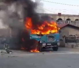 Aleppo Terrorists burn food aid trucks