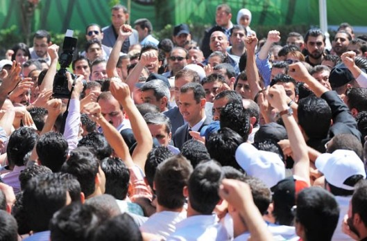 President Al-Assad-and-people
