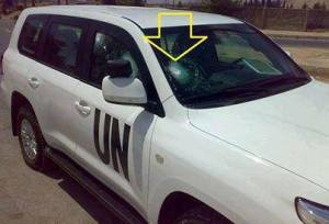 UN vehicle shot at