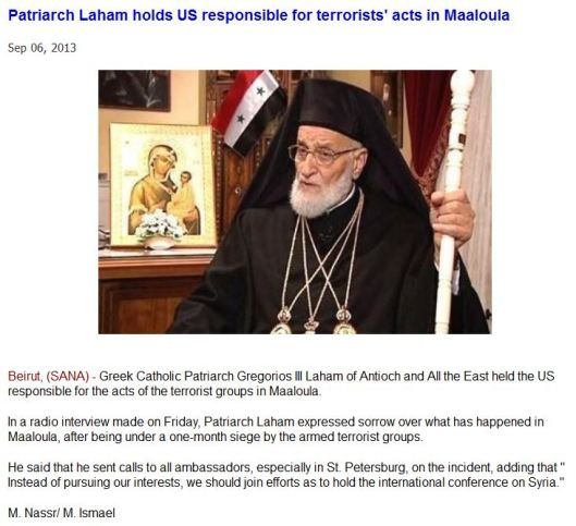 Patriarch Laham holds US responsible for terrorists acts in Maaloula