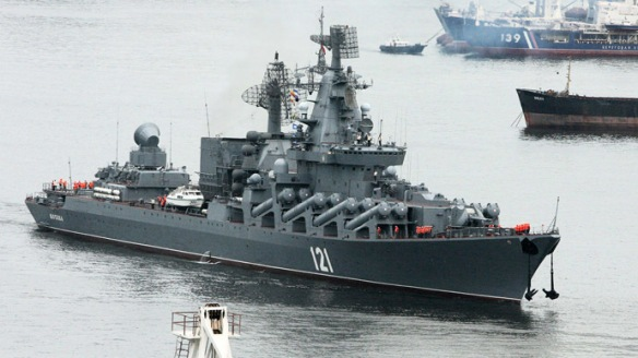 The Moskva missile cruiser sets out in a farewell ceremony to reach Sevastopol