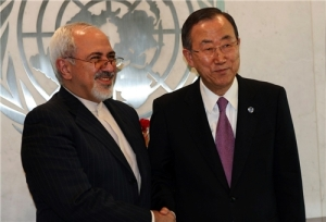 Ban ki-moon and Mohammad Javad Zarif