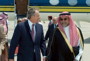Saudi Prince Bandar bin Sultan welcomes former British PM Tony Blair on his arrival in Jeddah