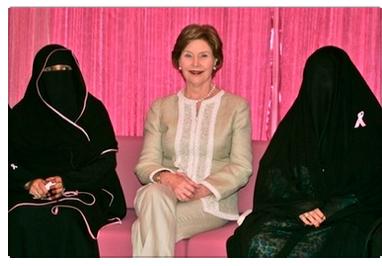 Laura Bush with religious Saudi Arabian women