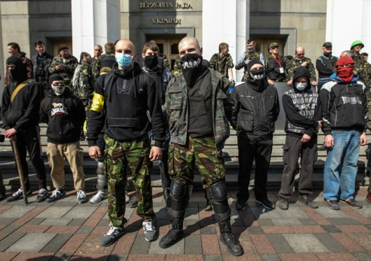 Members of the Ukrainian far-right radical group Right Sector-1