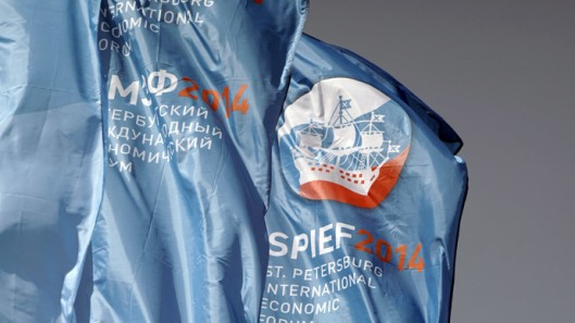 Flags with the symbols of the 2014 StPetersburg International Economic Forum