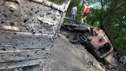 A burnt BMP-2 on the outskirts of the town of Rubezhnoye