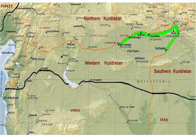 batı kürdistan haritası-1