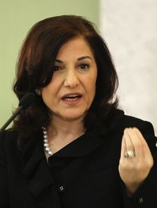 Bouthaina Shaaban, adviser of Syria's President Bashar al-Assad, speaks at a news conference in Damascus
