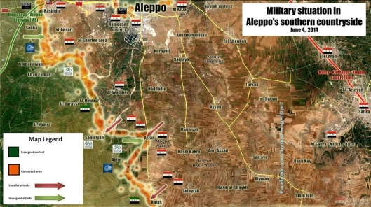 Current Map of Aleppo Battle 20140604