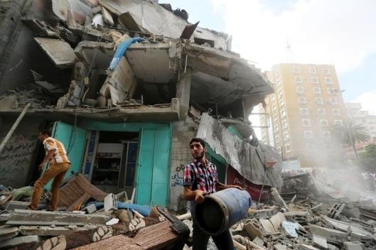 building hit by an Israeli missile strike in Gaza