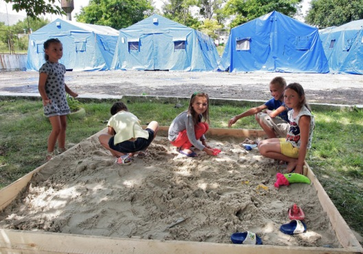 EMERCOM camp for refugees in Simferopol
