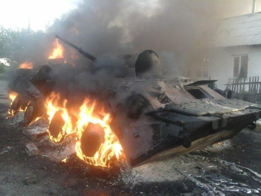 An APC that burned during fighting for Shakhtyorsk.