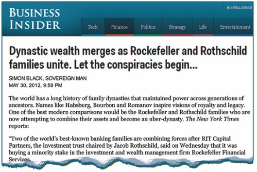 This was the headline on May 30, 2012 in Business Insider news. Even this mainstream publication was forced to mention the conspiracies angle. The uniting of the firms of Rockefeller and Rothschild means the world is set for a reordering of oil and gas priorities. The elite intend for the US—and its ally, Israel—to install its New World Order, based on its vast oil wealth.