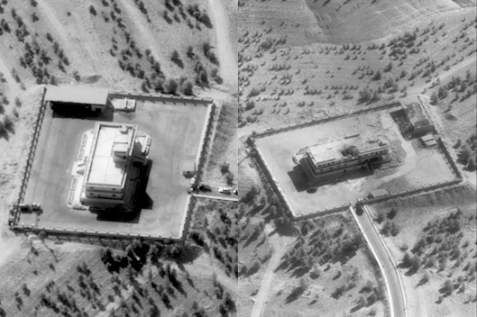 Pictures show an IS Command and Control Centre in Syria before (L) and after it was struck by bombs dropped by a US F-22 fighter jet. This was the first time an F-22 was used in a combat role (Reuters)