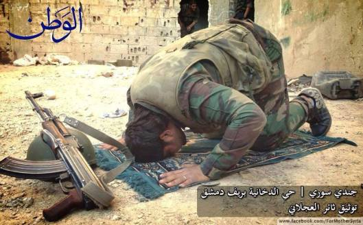 Syrian Army soldier in Dukhania giving a thanks kneeling to Allah for victory. Blessed Friday to everyone. (Ali, For Mother Syria, 17/10/2014)