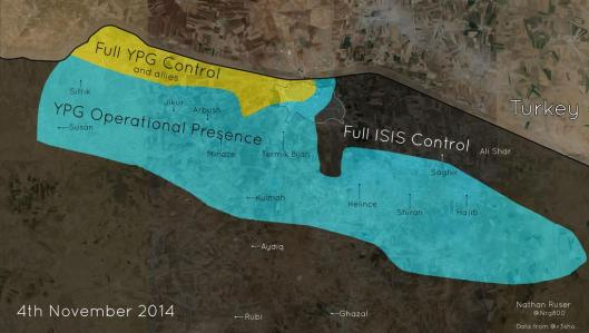 Please notice, the map below is not a controlled territorium map, but a OPERATIONAL map for 3rd november 2014. YPG have lately started more and more attacks behind enemy lines, mostly to create fear among the ISIS gang members. Source: twitter/r3sho, map created by twitter/Nrg8000 Read more at http://www.liveleak.com/view?i=beb_1415131378#ELD21sh1VQiR8bbO.99