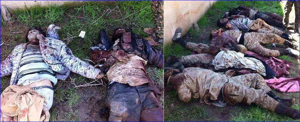 ISIS fighters killed by Assyrians fighters.