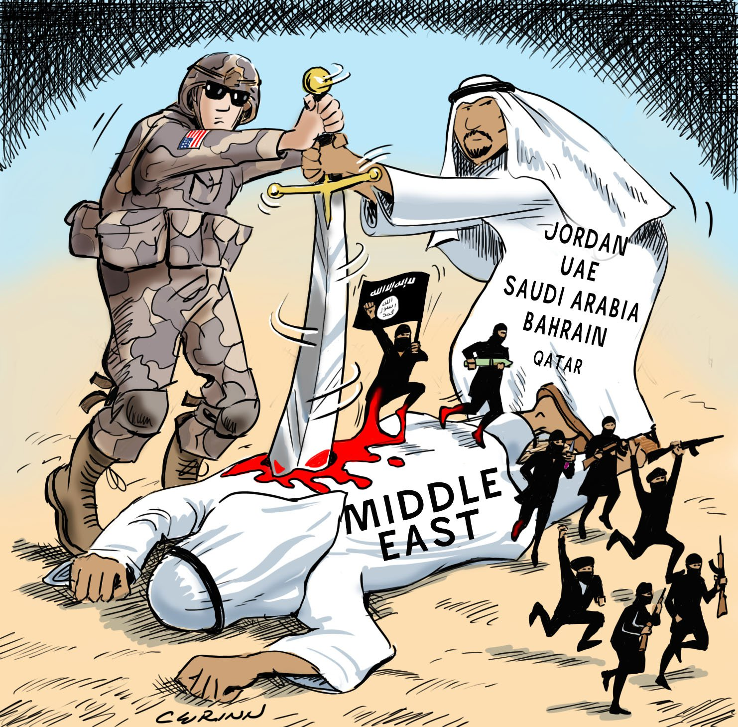 Image result for MOSSAD AND SAUD FAMILY CARTOON