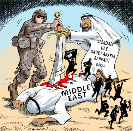 https://syrianfreepress.files.wordpress.com/2015/02/saudi-daesh-isil-cartoon-3.jpg?w=442&h=435