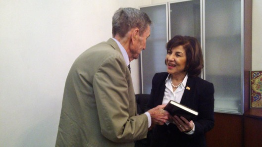 Bouthaina Shaaban with former Attorney-General Ramsey Clark