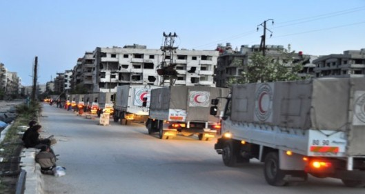 18 trucks with humanitarian aid to Yalda-Babila-Bait Sahm-Damascus Countryside