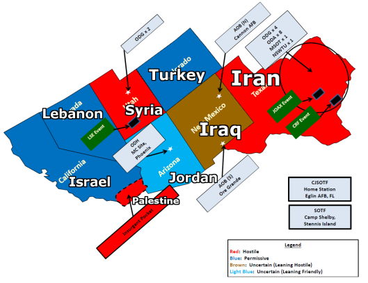 A possible layout of the countries that US states that are part of Jade Helm exercises are role-playing as