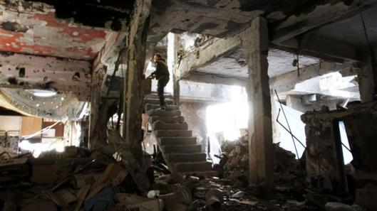 al-Nusra destroyed-Yarmouk Palestinian refugee camp
