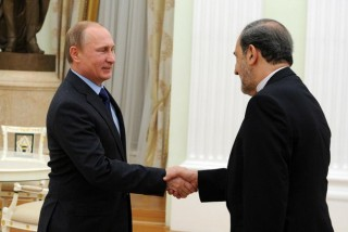 Vladimir Putin with Iran's Ali Akbar Velayati