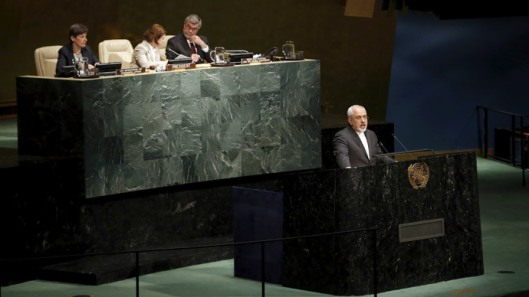 Iranian Foreign Minister Mohammad Javad Zarif delivers an address to the Opening Meeting of the 2015 Review Conference of the Parties to the Treaty on the Non-Proliferation of Nuclear Weapons (NPT) at United Nations headquarters in New York, April 27, 2015. (Reuters / Mike Segar)