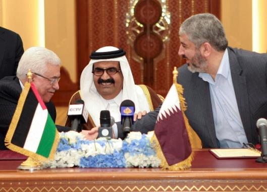 Mahmoud Abbas, Khaled Mashaal, Hamad bin Khalifa Al Thani