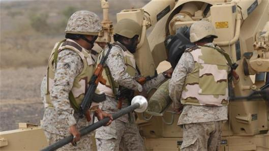 Saudi soldiers from an artillery unit