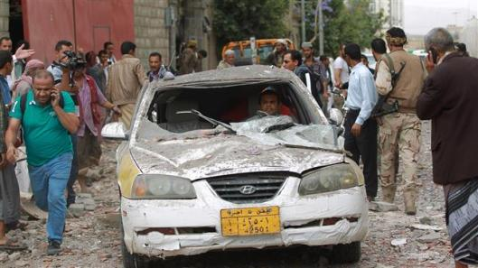 Yemeni man sits in his car