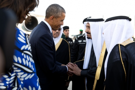 King Salman greets the President and First Lady during a state visit to Saudi Arabia on Jan. 27, 2015. (Official White House Photo by Pete Souza)