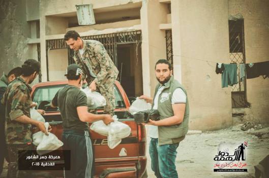 Volunteers deliver some supplies to the heroes of the Syrian Arab army in Jisr al Shughour-3