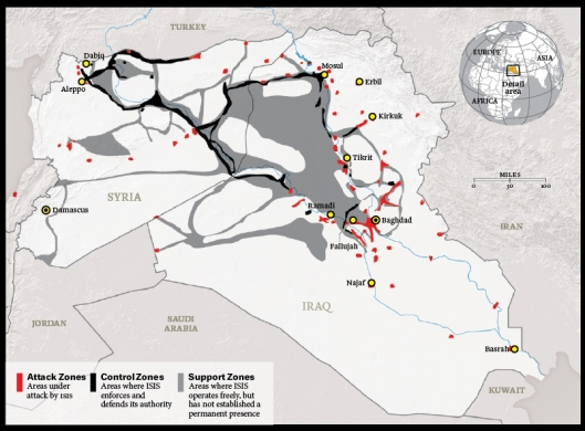 Recent maps showing ISIS' territory show obvious supply lines leading from Jordan and Turkey. Should Syria and its allies manage to cut these supply lines, one wonders just how long ISIS' so-far inexplicable winning streak would last.