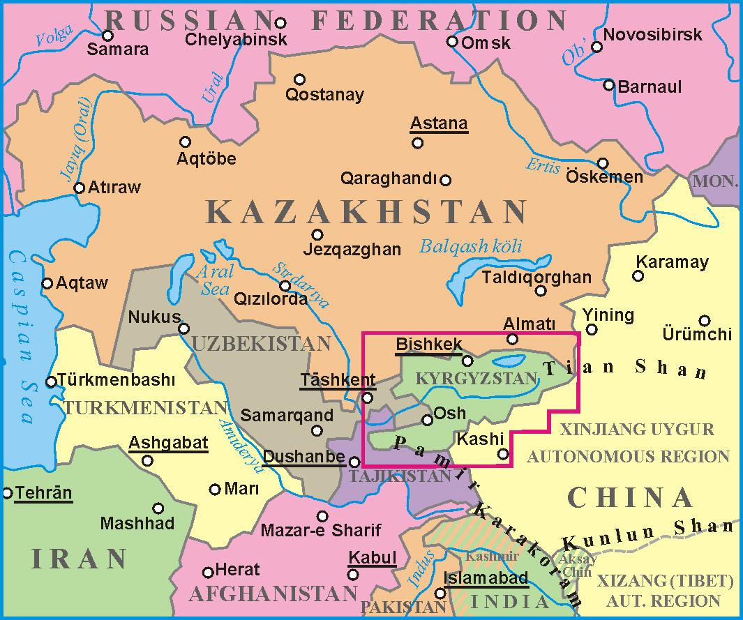 Manas Kyrgyzstan Map - Kyrgyzstan map