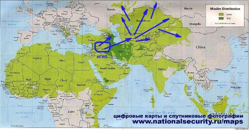 Mapa 3. Šírenie islamu a možno ISIS ofenzíva