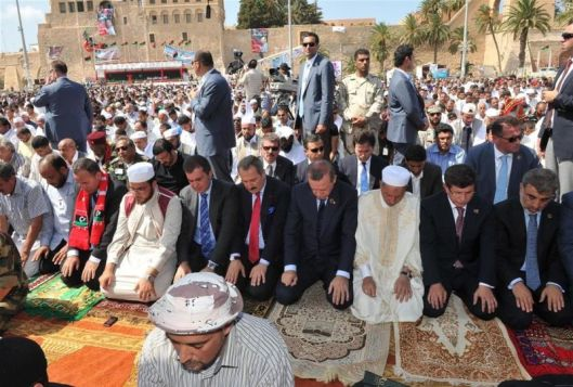 libyas-president-mustafa-abdul-jalil-turkeys-pm-recep-tayyip-erdogan-fm-ahmet-davutoglu-and-deputy-pm-bekir-bozdag-attend-friday-prayers-green-square-tripoli-16-september-2011
