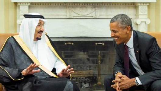 President Barack Obama, right, meets with King Salman of Saudi Arabia in the Oval Office of the White House, on Friday, Sept. 4, 2015, in Washington. The meeting comes as Saudi Arabia seeks assurances from the U.S. that the Iran nuclear deal comes with the necessary resources to help check Iran's regional ambitions. (AP Photo/Evan Vucci)