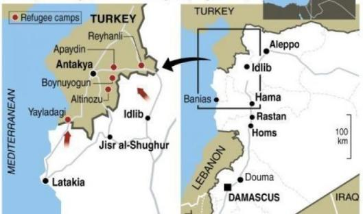 Turkish refugee camps map