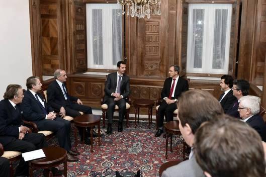 President al-Assad and French delegation-5
