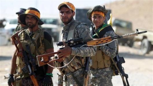 Iraqi fighters from the Popular Mobilization unit