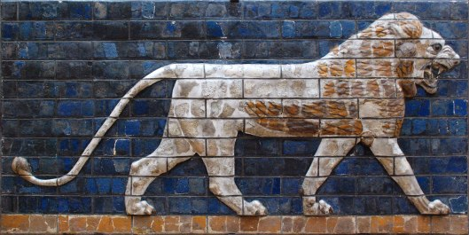 A lion from the Ishtar Gate into the city of Babylon. Constructed around 575 BC by King Nebuchadnezzar II
