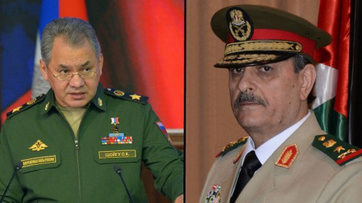 Russian Defense Minister General Sergei Shoigu and Syrian Defense Minister General Fahd Jasem al-Freij