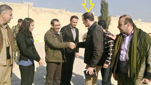 U.S. envoy to the coalition fighting ISIS, Brett McGurk (3rd from right) meets local Kurdish officials in the northern Syrian town of Kobani, in late January 2016 (source: CBS)