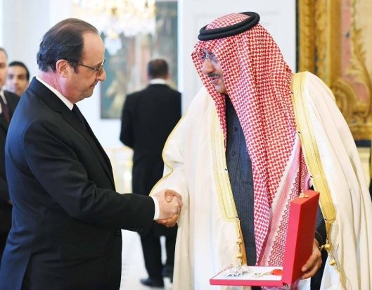 Saudi Arabias Interior Minister and Crown Prince Mohammad Bin Nayef receives Legion Dhonneur from President of France Francois Hollande, Elysee Palace, Paris, 4 March 2016